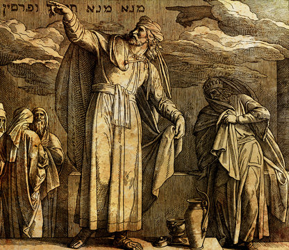 The writing on the wall, Daniel and king Belshazzar, graphic collage from engraving of Nazareene School, published in The Holy Bible, St.Vojtech Publishing, Trnava, Slovakia, 1937.