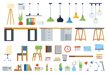 Office furniture, accessories and plants. Creation kit of workplace. Set of vector elements