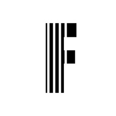 Vector stripped alphabet. Letter F