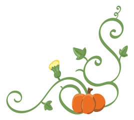 Pumpkin on a vine with a blossom, corner decal.