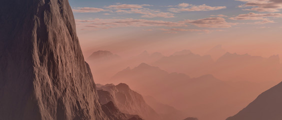 Extremely detailed and realistic high resolution 3d illustration of a Mars like environment