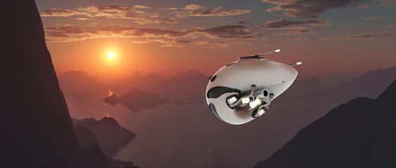 Extremely detailed and realistic high resolution 3d illustration of a futuristic looking drone / space ship flying on an earth like exoplanet