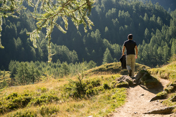 Young adult active man hike through scenic mountain path in sunny summer morning on mountain outdoor.