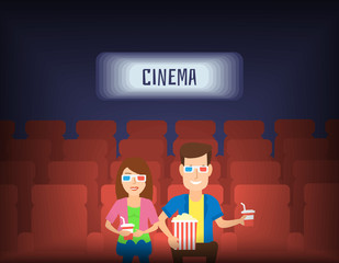 couple man and woman in cinema theater watching 3d movie