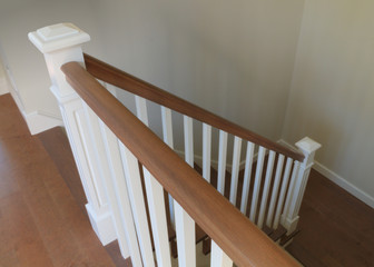 white staircase interior classic design wood steps handrails ramp