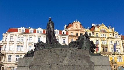 Prague Jan Hus memorial monument in Old Town Square, designed by Ladislav Saloun to honor religious martyr burned at the stake in 1415
