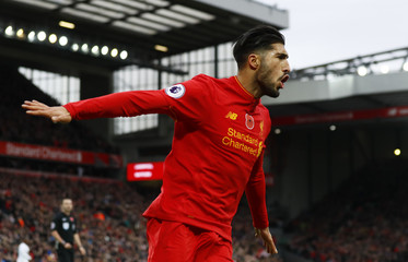 Liverpool's Emre Can celebrates scoring their third goal