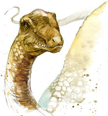 dinosaur watercolor illustration.