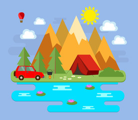 Пейзаж. Горный пейзаж. Туристический отдых в горах. Векторная иллюстрация.