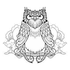 owl and cloud tribal zen tangle tattoo with white isolated background
