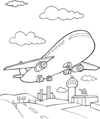 Foto op Plexiglas Cartoon draw Jet Aircraft Vector Illustration Art