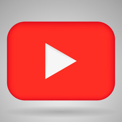Red play video button vector illustration