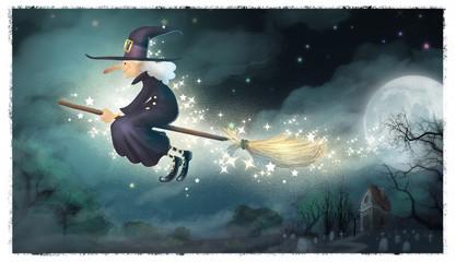 bruja volando por la noche tenebrosa
