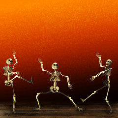 Halloween skeletons. Orange background.