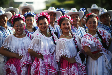Salvadoran students participate in the parade commemorating Independence Day in San Salvador