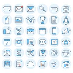 Flat line web icons set