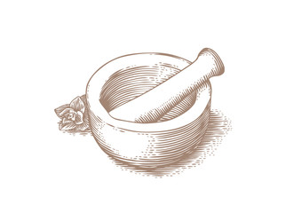 Mortar bowl and pestle with herb