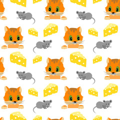 Seamless pattern with cat, mouse and cheese on white background.