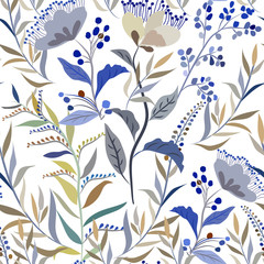 Seamless pattern with meadow flowers and herbs on a white background, floral ornament.