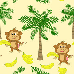 Seamless pattern with palm trees, monkey and bananas on a yellow background.