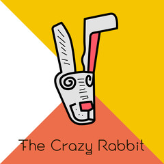 Crazy rabbit vector icon art and illustration