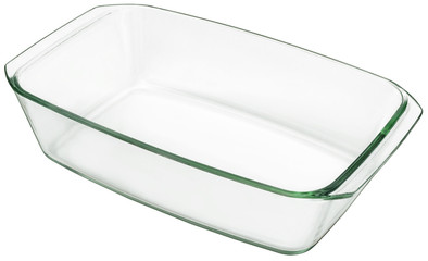 Large Oblong Glass Baking Pan Isolated On White Background