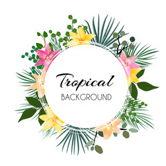 Abstract Natural Tropical Frame Background with Palm and other Leaves and Lily Flowers. Vector Illustration