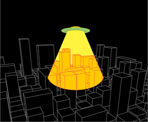 City and UFO. Abstract Skyline  and Space Invader. Industrial landscape and ALien. Vector illustration
