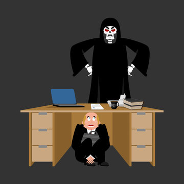 Businessman scared under table of Grim Reaper. frightened business man under work board. does not want to die. Boss fear office desk. To hide from death. Vector illustration
