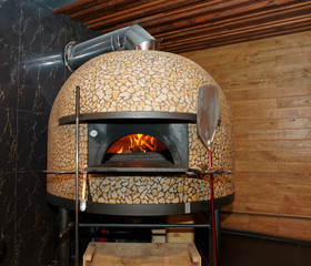 Traditional wood-fired pizza oven
