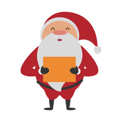 santa claus holding gift christmas related icon image vector illustration design