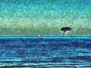 Painted on canvas hand drawn landscape of the storm. A small yacht or boat in the ocean, which is approaching on tornado. Watercolor painting artwork.