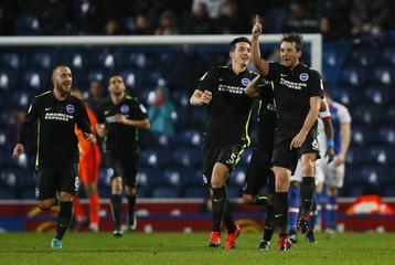 Brighton & Hove Albion's Dale Stephens celebrates scoring his sides second goal