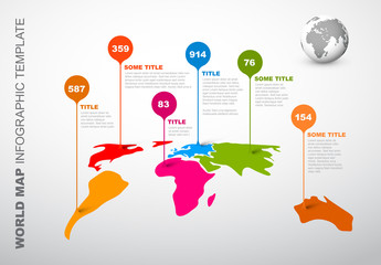 World Map Infographic with Droplet Pointer Elements Layout 1