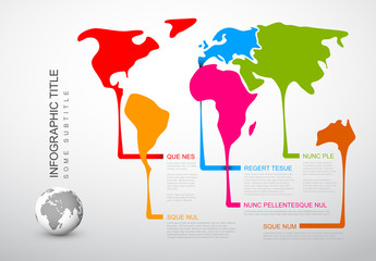 World Map Infographic with Descriptive Continent Elements Layout 1