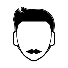 man with mustache avatar head icon image vector illustration design