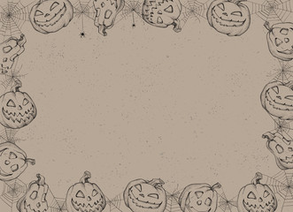 Halloween Poster. Vector illustration of Halloween Background with pumpkins and web.