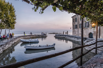 Small harbor at an Italien lake