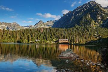 Panorama of Popradske pleso lake valley in Tatra Mountains, Slovakia, Europe Wall mural
