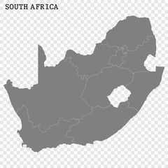 High quality map of South Africa with borders of the regions or counties