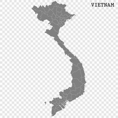 High quality map of Vietnam with borders of the regions or counties