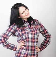 woman wearing casual clothes, posing on white background