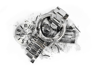 Time stops on closeup of a smashed and damaged silver steel wrist watch