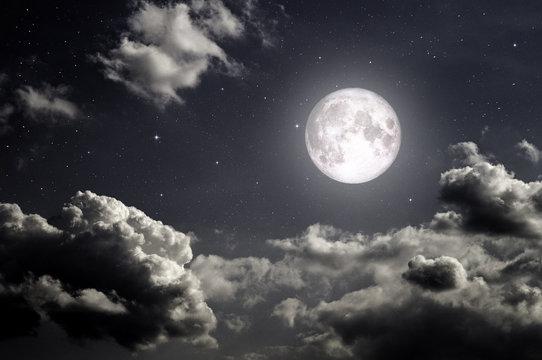 night dark sky with stars moon and moonlight