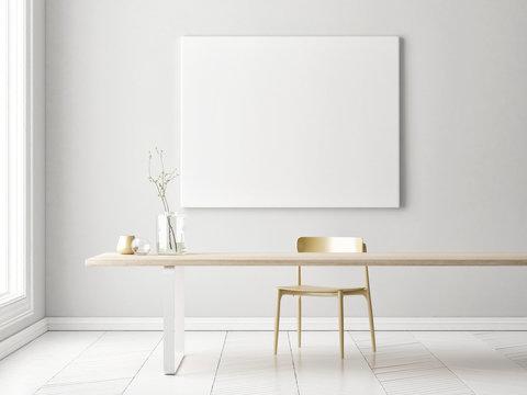 Interior minimalism concept design with mock up poster, 3d illustration