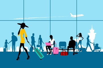 Passengers and luggage in the airport. People Vector silhouettes