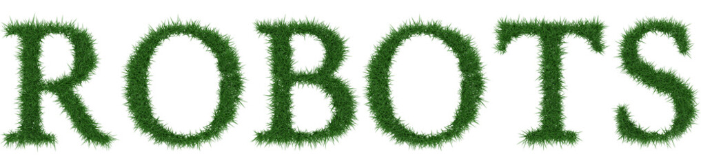 Robots - 3D rendering fresh Grass letters isolated on whhite background.