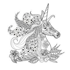 Monochrome zentangle style sketch of unicorn head with lush mane stock vector illustration