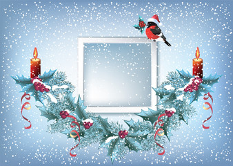 Christmas card with photo frame, spruce garland and  bullfinch in Santa hat