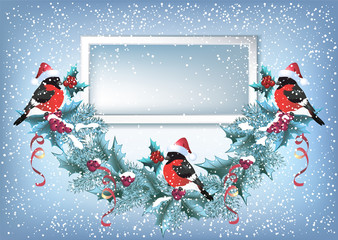 Christmas card with photo frame, spruce garland and  bullfinches